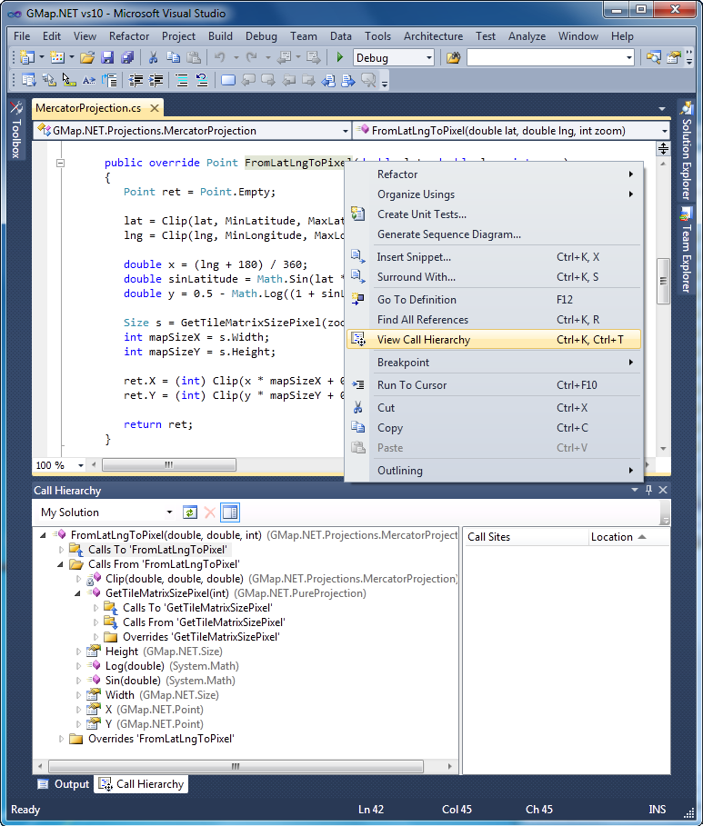 Visual studio 2010 helps you grok other peoples code quickly the view call hierarchy ccuart Image collections