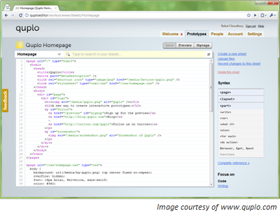 Quplo user interface