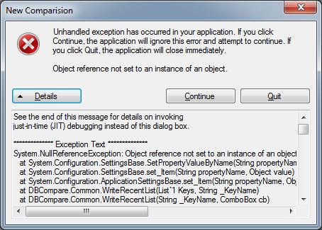 DBComparer NullReferenceException